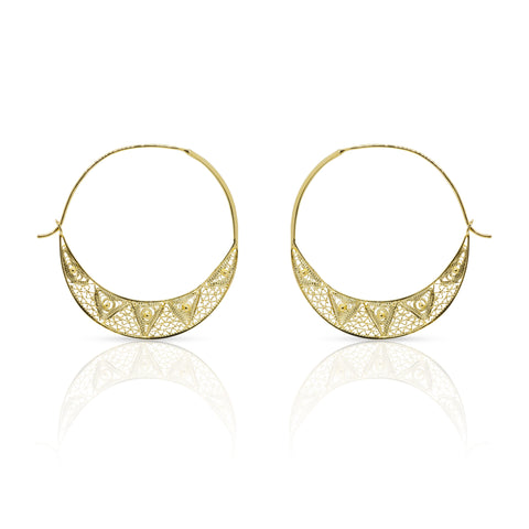 Large 24K gold plated filigree hoop earrings