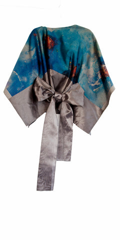 Gray boxy top with asymmetrical neckline and bow, colorful images abstract images or artist Arzù with belt pants set