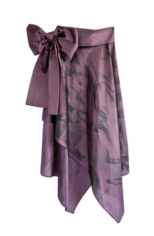 Purple mini asymmetrical hem strapless dress with images of artist Lara Hidalgo