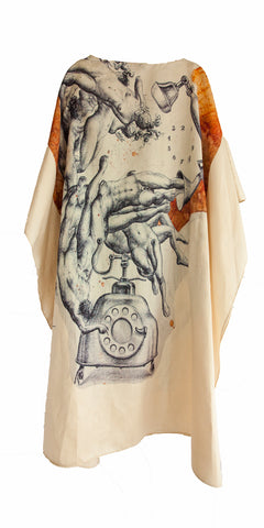 Maxi dress with images of Honduran artist Lara Hidalgo