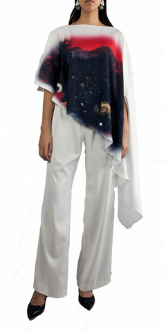 Asymmetrical white top with images of artist Arzú and pants set