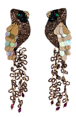 Bird earrings made of Miyuki and Czech, and Murano glass beads
