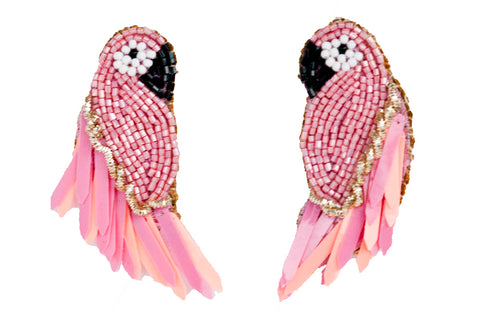 Pink bird earrings made of Miyuki and Murano glass