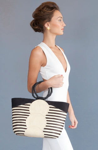 PrendaBella Michú straw bag with leather accents and wooden handle