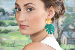 Green beaded earrings with 24K gold plated flower