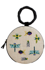 Round mini straw handbag with leather and embroidery