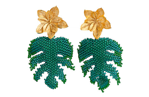 Statement leaf earring with 24K gold plated filigree and beads
