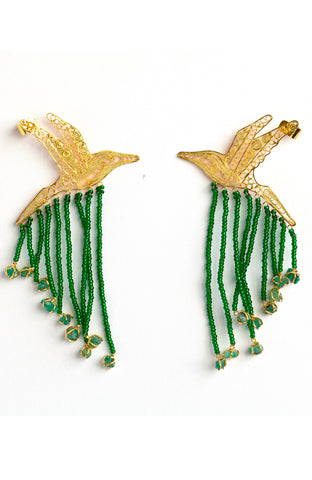 Statement hummingbird earrings with 24K gold plated filigree and raw emeralds