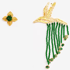 Gold filigree hummingbird earrings with beads and raw emeralds