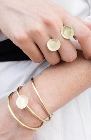 Ring and bracelets from the Curva Collection by Dos Pinceles Puerto Rico