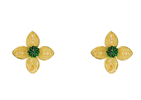 Gold and emerald filigree flower earrings