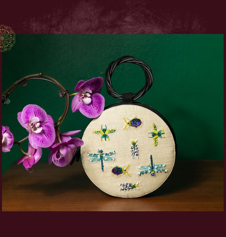 Straw and Leather Mini Handbag with Embroidery