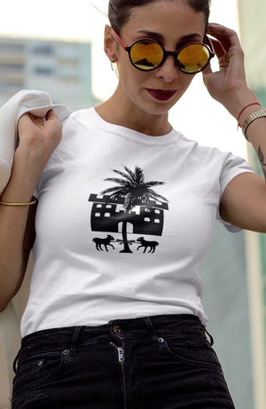 White organic cotton graphic T-Shirt with palm tree, lamb and castle graphics
