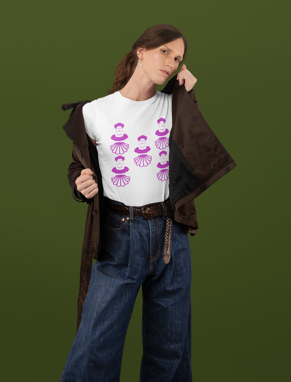 Frida Kahlo short sleeved white organic cotton lilac graphic t-shirt