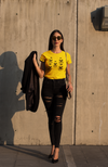 Frida Kahlo short sleeved yellow organic cotton graphic t-shirt