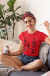 Frida Kahlo short sleeved red organic cotton graphic t-shirt