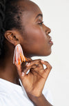 Beaded Multilayered colorful statement earrings sustainable