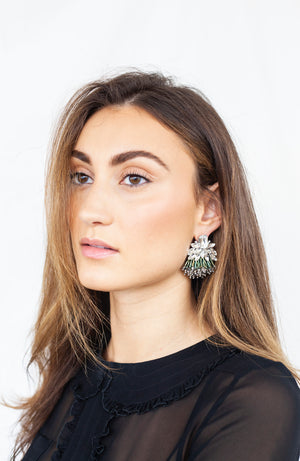 Athena green crystal statement earrings with Murano and Miyuki glass beads