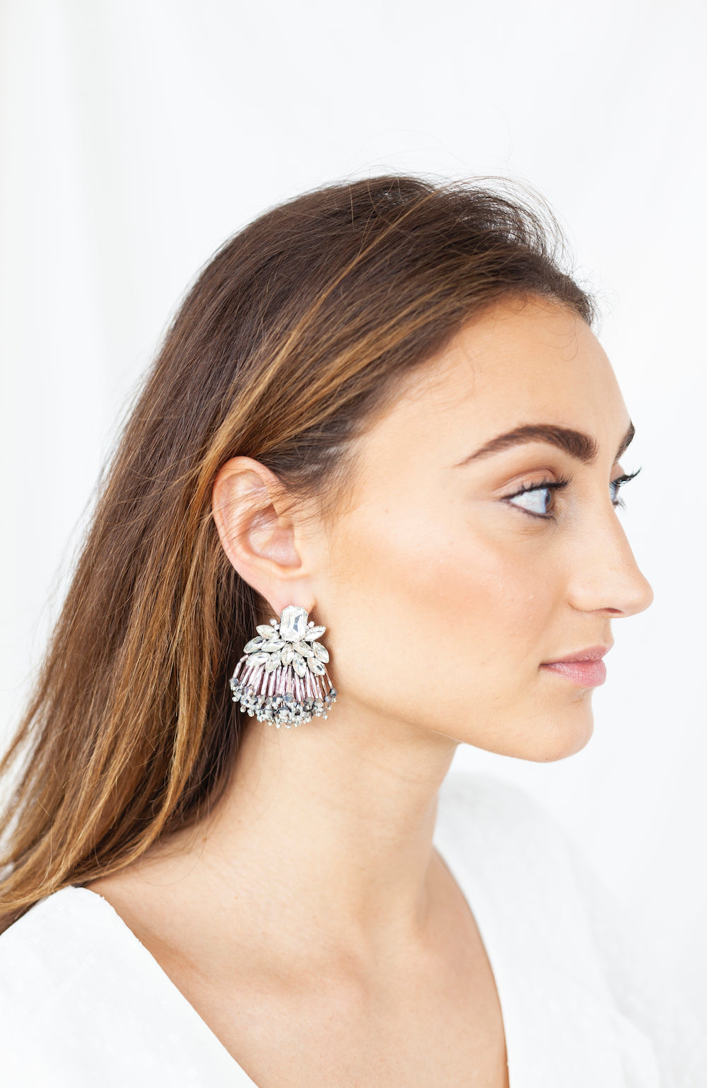 Pink multi crystal stud earrings