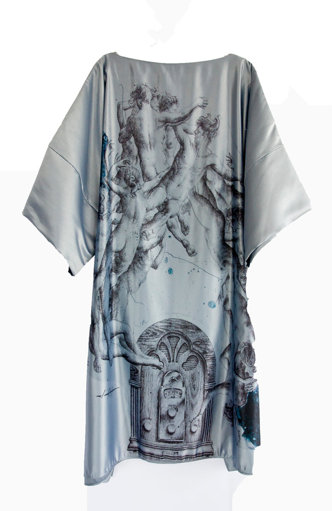 Satin blue gray midi dress with classical surrealistic  images by artist Lara Hidalgo  from Honduras