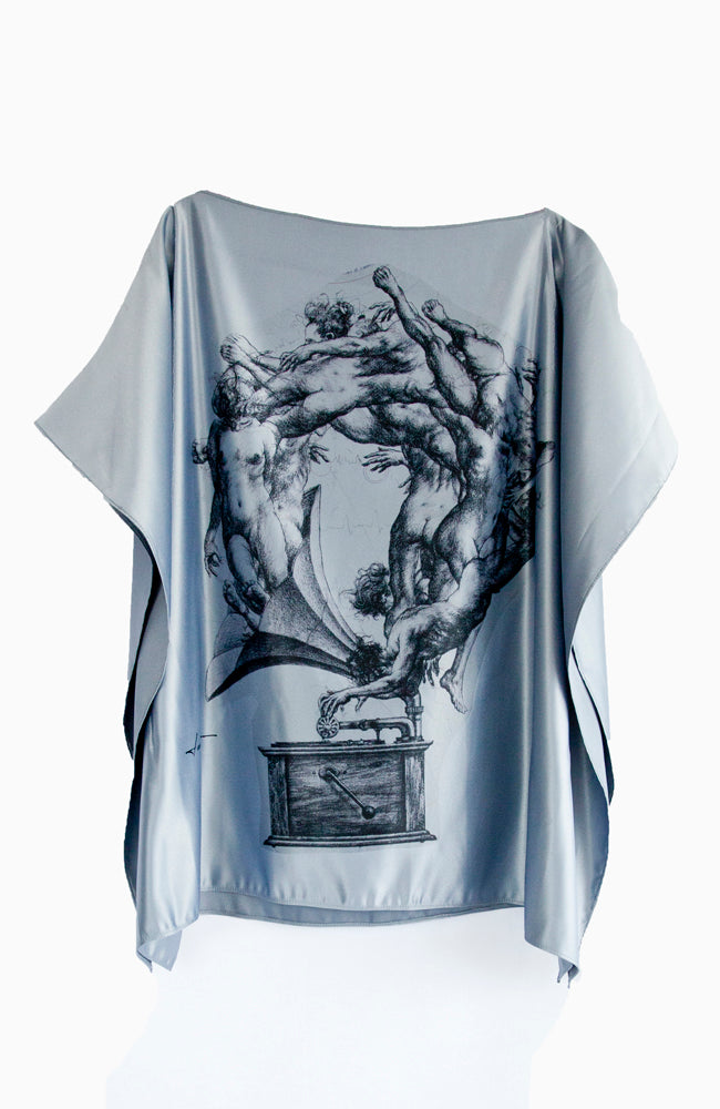 Kolori blue-gray tunic top with classical surrealistic  images by artist Lara Hidalgo from Honduras