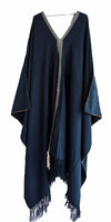 Long Pima cotton navy blue maxi dress handwoven embroidered