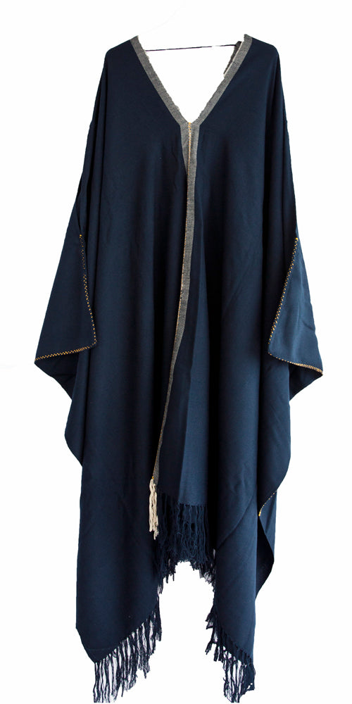 Pima cotton navy blue maxi dress handwoven embroidered sustainable