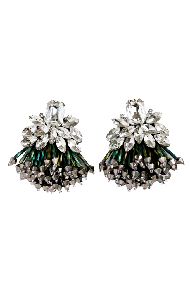 Athena green crystal statement earrings