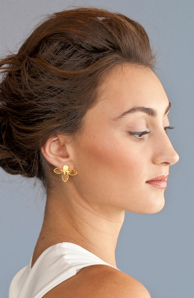 Handmade small gold stud bee earrings,sustainable and fair trade