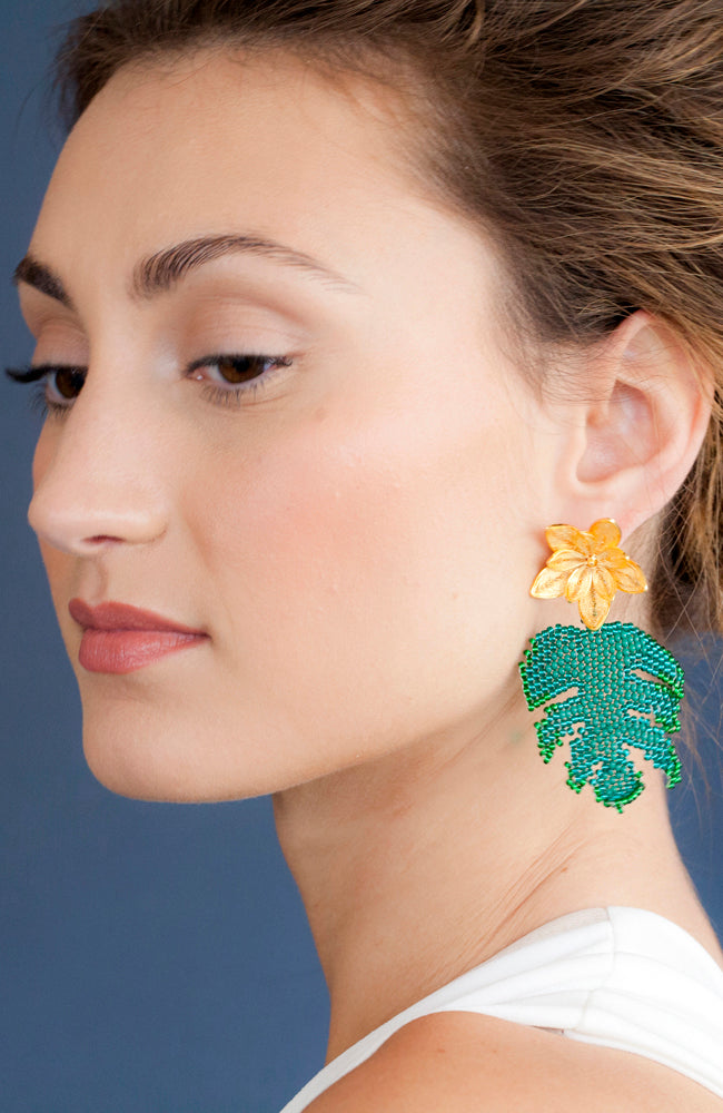 Gold flower and green leaf pendant earrings handmade, fair trade, sustainable