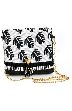 Handmade straw black and white beaded crossbody or clutch handbag with 24K gold plated puma cat closure and gold chain.