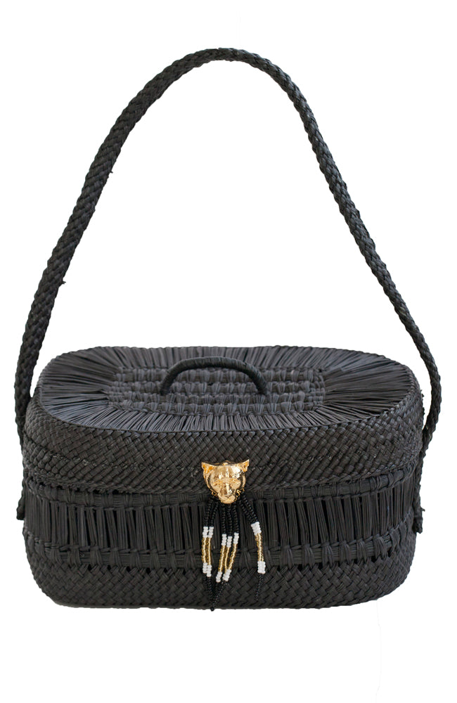 Handwoven sustainable black straw mini basket handbag with 24K gold plated bronze beaded puma accent