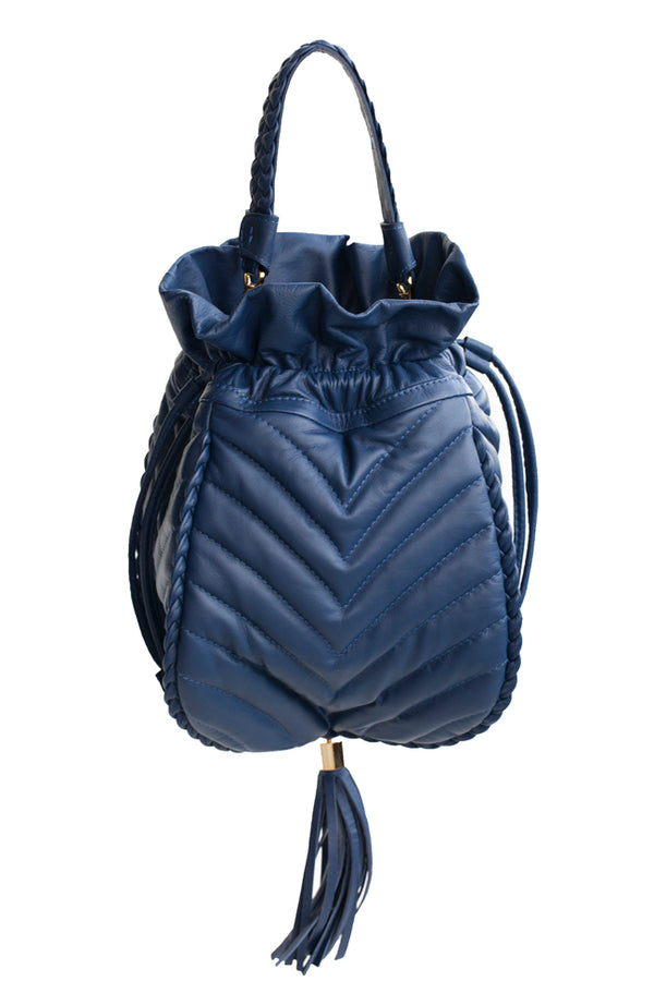 Blue soft leather quilted, drawstring bucket handbag with short braided handle.