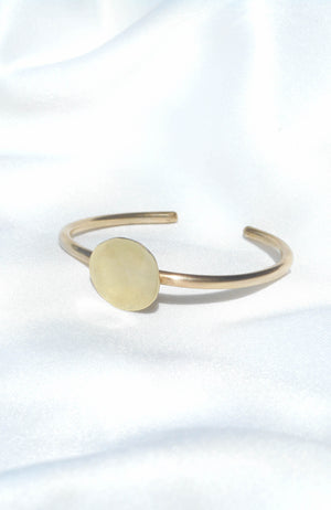 Bronze bangle with circle design handmade in Puerto Rico