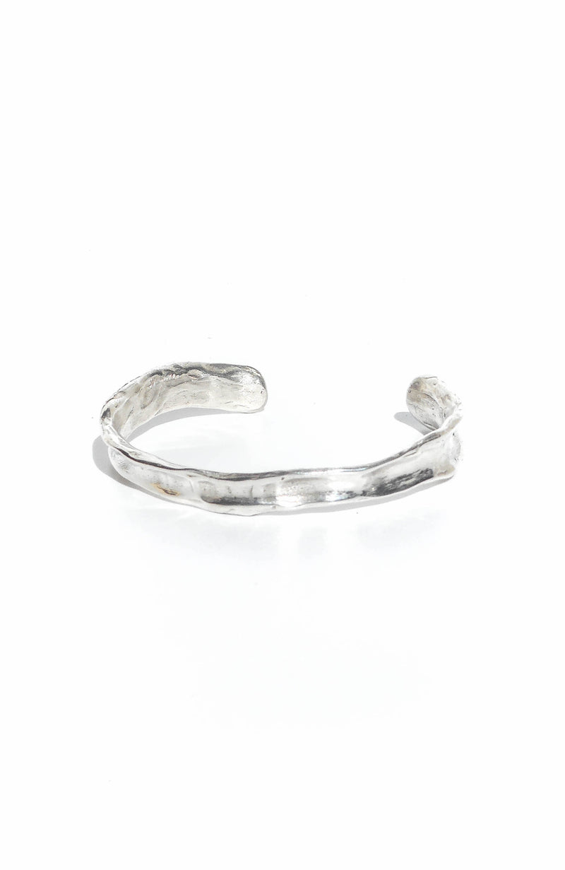 Thin cuff sterling silver bracelet in rustic texture handmade in Puerto Rico