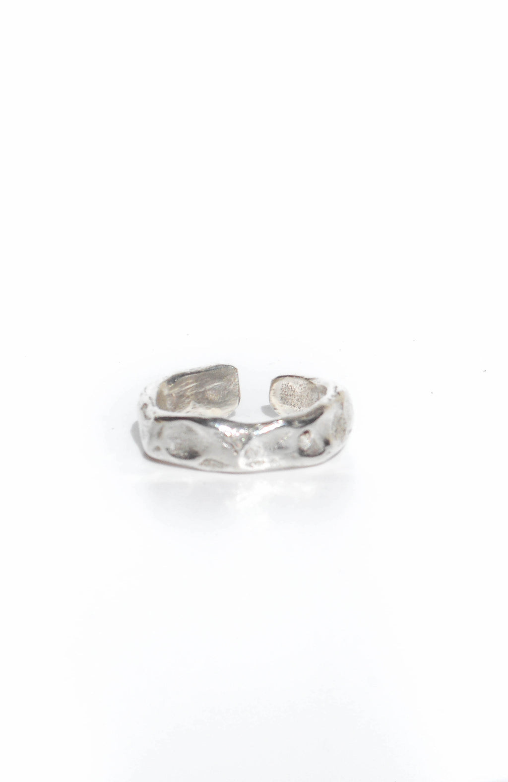 Sterling silver knuckle ring with rustic surface handmade in Puerto Rico
