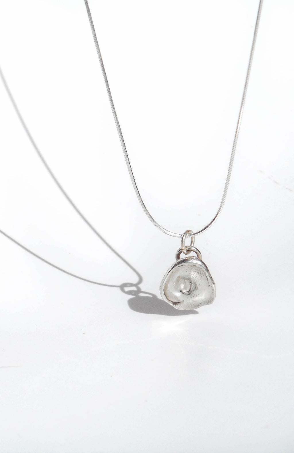 Sterling silver necklace with drop charm handmade in Puerto Rico