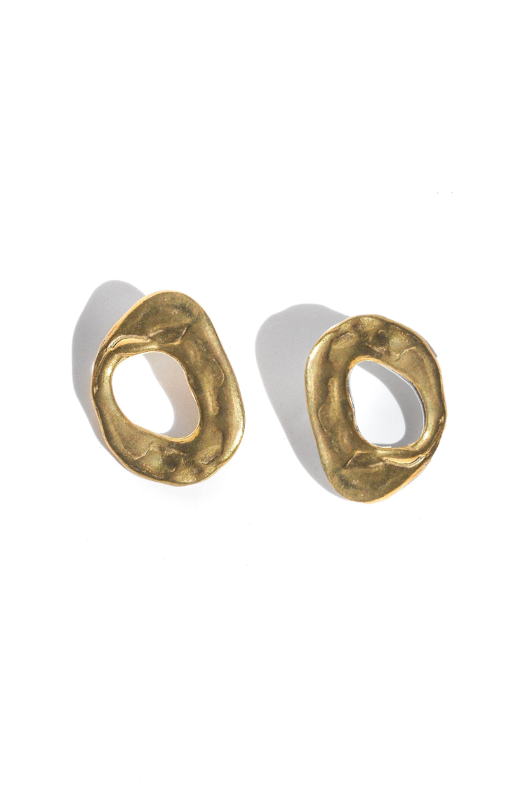 Round irregular surface solid brass earrings handmade in Puerto Rico