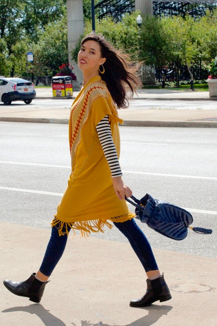 Yellow long Pima cotton kimono