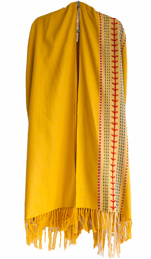 Yellow Pima cotton kimono tassels handwoven and embroidered