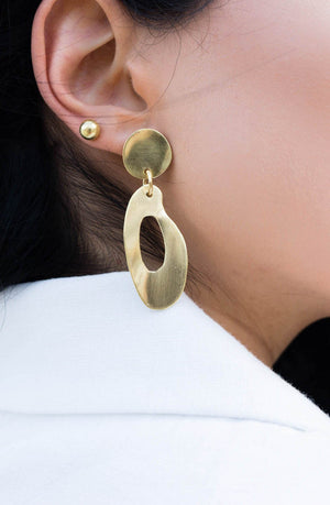 Bronze elongated circle drop earrings handmade in Puerto Rico