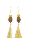 Pendant 24K gold plated purple and green beaded beetle earrings with  tassels