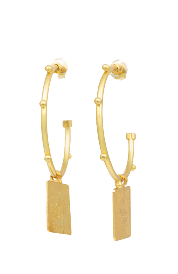 Mystic Etched Gold Studded Hoop Earrings