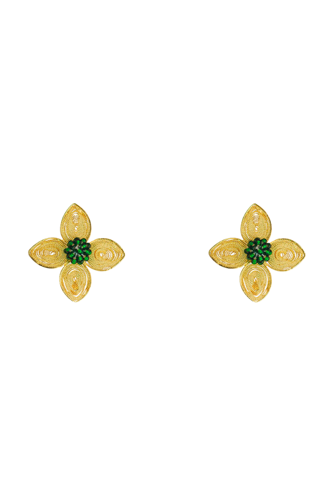 Gold flower stud earrings with green emerald center