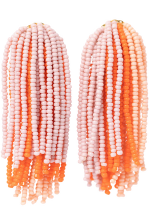 Vera Chaang Lluvia waterfall red and pink beaded earrings