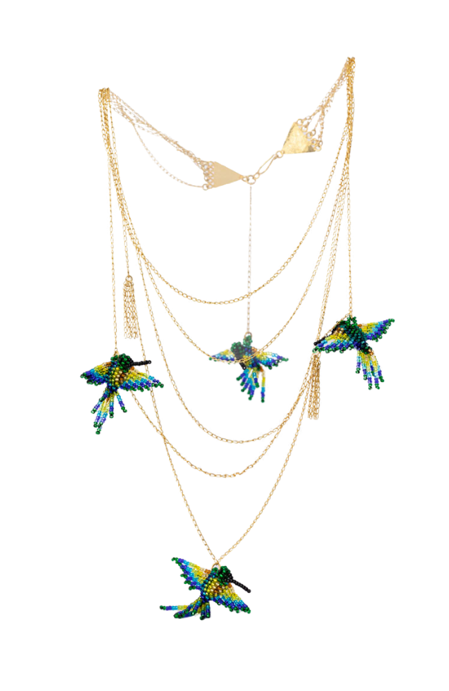 Tiered  multi-chain long 24K plated gold plated necklace with hanging beaded hummingbirds