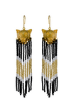 Gold cat pendant earrings with cascading black, bold and white beads