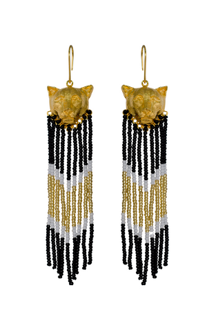 Gold cat pendant earrings with cascading beads, sustainable and fair trade