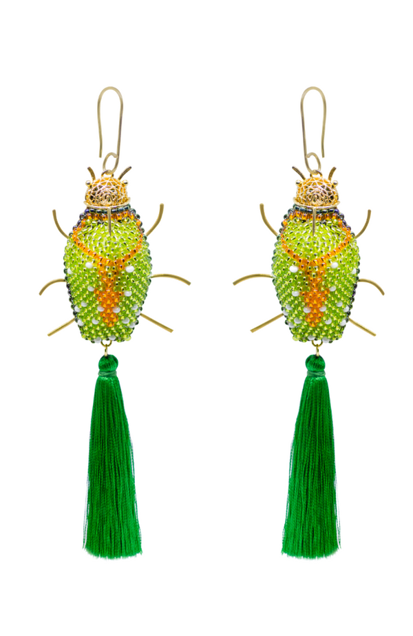 Pendant gold and bead green beetle earrings , handmade and fair trade