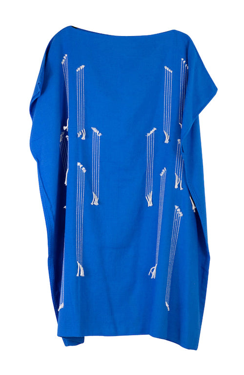 Electric blue Pima cotton summer short dress
